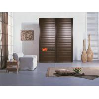 Brown wooden plastic steel composite sliding louvered for Wooden patio doors for sale