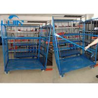 Metal three Sides Powder Coated Folding Pallet Logistic Trolley Racking Systems For Warehouses