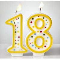 Custom Arabic Number Birthday Candles 1 To 18 With Colorful Dot No Harmful for sale