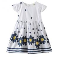 China Summer Infant Baby Girl Dresses / Newborn Girl Dresses With Waistband And Prints on sale