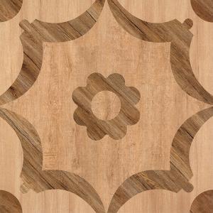 Matte Finish  600*600 Rustic Wood Look Ceramic Tile  Flower Design In Bathroom Floor