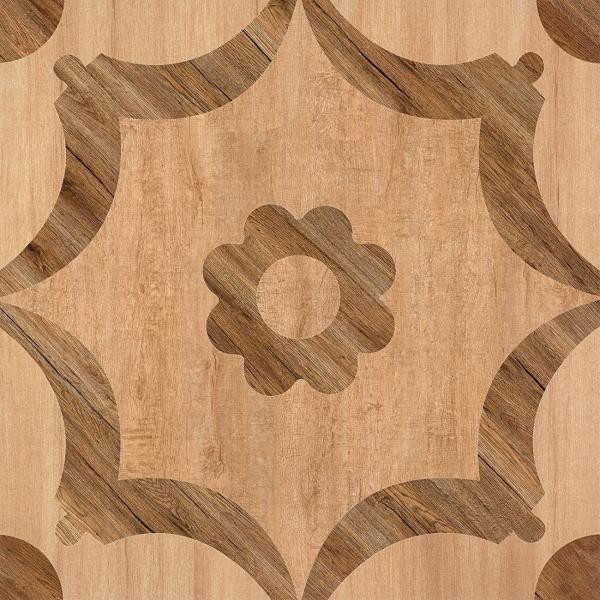 Quality Matte Finish  600*600 Rustic Wood Look Ceramic Tile  Flower Design In Bathroom Floor for sale