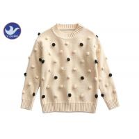 Buy cheap Pompom Ball Decoration Girls Pullover Sweaters Cute Cotton Mock Neck Knit Jumper product