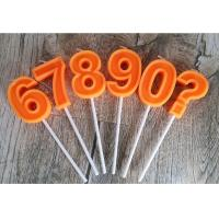 Buy cheap Orange Mini Number Birthday Candles Zero To Night With 3D Edge And Plastic Holder product
