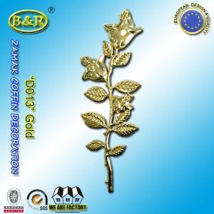 Buy cheap Zamak Rose Coffin Fitting Decoration Zinc Alloy Flower Size 45cm×13cm Gold / Antique Bronze product