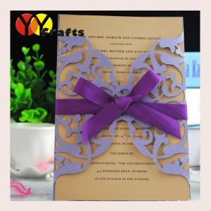 China Purple wedding invitation card with ribbon customized reasonable price on sale