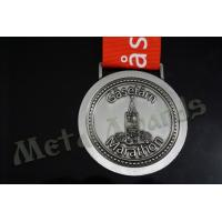 Funny Round Shape Custom Sports Medals With Printed Ribbon Corrosion Resistance