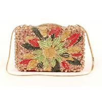 Multi Color Crossbody Stone Clutch Bag Diamond Gold Pu Lining For Women
