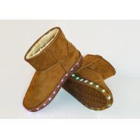Size 38 Light Casual Shoes Ladies Winter Fur Leather Ankle Boots Brown Color