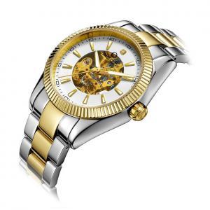 Buy cheap 40mm Male Wrist Watch 50M Waterproof Golden Stainless Steel Belt product