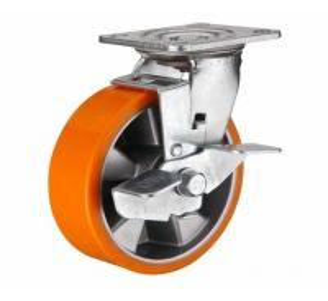 Buy cheap 8 inch Orange color Swivel aluminium core PU wheel for heavy duty caster from wholesalers