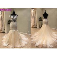 Buy cheap Custom Made Champange Mermaid Style Wedding Dress With Boat Neckline Tulle product