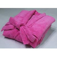 China Long Microfiber Polyester Bath Robe , Pink Chenille Bathrobe Full Length on sale