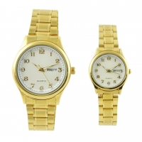 Buy cheap Gold Quartz Japan Movt Brass Wrist Watch With Stainless Steel Clasp from wholesalers