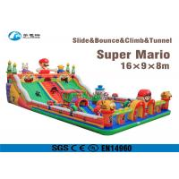 China Super Mario Inflatable Slide Fire Retardant Bouncy Castle With Slide on sale