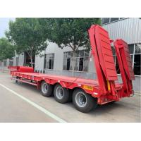 China Goose Neck Red Low Bed Semi Trailer 3 Axles Loading And Transporting Machine on sale