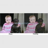 Buy cheap Hand Painted Children Oil Portraits From Photos / Realistic People Portrait Oil Painting on Canvas product