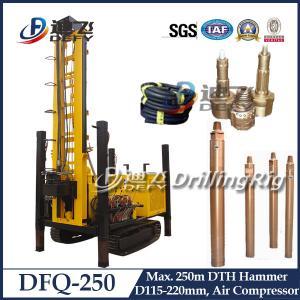 250m DFQ-250クローラーによって取付けられるDTHの井戸鋭い機械