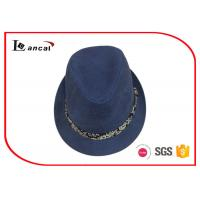 Buy cheap Navy Canvasladies Summer Trilby Hats , Custom Logo Trilby Style Hat product