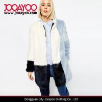 Buy cheap Womens Round Neck White Black and Blue Color Block Faux Fur Coat product