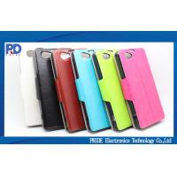 China Black Smart Mobile Phone Protective Cases For Sony Z1 Mini Leather Flip Case on sale