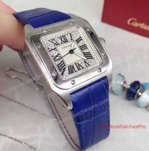Cartier Santos Diamond Face 36mm Blue Leather Band Watch