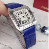 Quality Cartier Santos Diamond Face 36mm Blue Leather Band Watch for sale