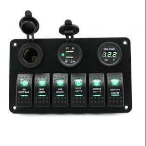 Buy cheap 12V-24V Marine Switch Panel Car Marine Boat Circuit Red LED Breaker 6 Gang Panel Laser Pattern product
