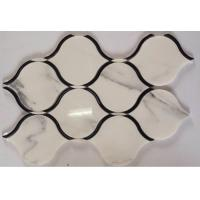 China Black Marble Stone And Glass Mosaic Tiles Sheets , Glass Mosaic Kitchen Tiles Floor Pattern on sale