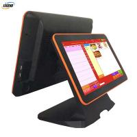 Buy cheap 15 inch all in one pos dual screen pos system cash register for sale black color product