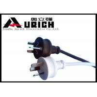 SAA 3 Pin Plug Australian Mains Lead 10A 250V With IEC Connector White / Black Color