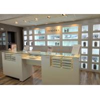 Customized Logo High Wall Display Cabinets / Jewelry Display Cases Beige Color