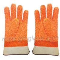 China Orange Fluorescent PVC Dipped Gloves,Safety Cuff on sale