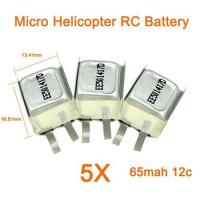 China 5 X Micro RC Lipo Battery for Mini Helicopter 3.7V 65mah 12C - $ 35.00 Free Shipping ! on sale