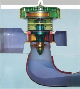 Buy cheap Turbine hydraulique de Kaplan de rendement élevé, centrales hydrauliques principales moyennes de turbine axiale product
