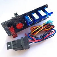 Buy cheap 12V Racing Race 4 Blue& 1 Red LED Toggle Switch Button Panel Engine Start product