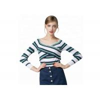Sexy Lady Cozy Knit Sweater Long Sleeve V Collar Pullover With Striped Pattern