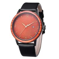 Buy cheap Men's Unique Design Wooden Watches with Soft Leather Band Men Wristwatch product