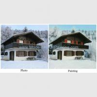 Buy cheap House Portrait Oil Painting from photo, Realistic Scenery Canvas Art Painting on Canvas product