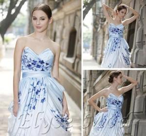 Vestido formal de la entrega rápida de la flor de la impresión del tren de la corte del amor del vestido de bola de ELYSEMOD