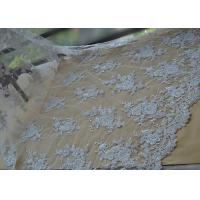 China Floral Beaded Corded Lace Fabric , Ivory Embroidered Lace Fabric With Wavy Edging on sale