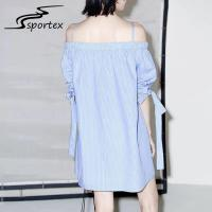 China White Blue Stripe Off Shoulder Women Dress , Casual Summer Dresses Minimalistic on sale