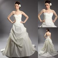 Buy cheap Vintage Satin Beaded Applique Wedding Dresses Ruffled Ball Gown in White product