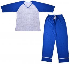 Buy cheap Casual Womens Pyjama Sets Raglan Long Sleeve V Neck Top With Piping Hem product
