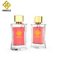 Buy cheap new design perfume empty bottle glass 100ml container crimp on neck perfume from wholesalers