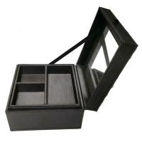 Buy cheap Handmade Luxury Fancy Jewelry Box With Mirror Black Color Custom Size product