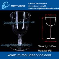 China PS clear disposable plastic red wine / champagne glasses and cups 3.3 oz /100ml mould on sale