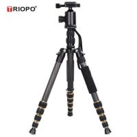 Buy cheap TRIOPO GT-2505+Q-2 Portable Carbon Camera Tripod Monopod Kit with Ball Head with black and gold color product
