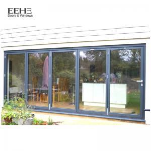 Low E Black Aluminium Bifold Doors / Large Aluminium Folding Patio Doors