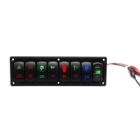 Buy cheap Plastic 7 Gang LED Rocker Switch Panel with 4.2A Dual USB Socket with Volt display Pre-Wired for Auto Car marine Truck product